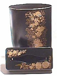 1950s Black & Gold Toleware Waste Can And Tissue Box Set