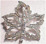 Beautiful Rhinestone Leaf Pin Broach