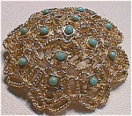 Circular Broach Pin Marked West With Turquoise Accents