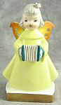 Ceramic Angel Earring Tree Figurine - Made In Japan - With Accordion