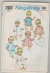 1968 - Doll Wardrobe - Simplicity - 7931 - Oop
