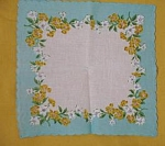 Aqua And White Vintage Floral Handkerchief