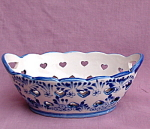 Windmill Oval Bowl With Reticulatedhearts.