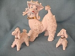 Pink Spaghetti Poodle Dog Mother And Pups Figurines