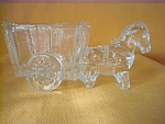 Donkey And Cart Clear Glass Candy Container