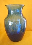 Cobalt Blue Swirl Pattern Glass Vase