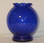 Cobalt Blue Glass Round Vase W/ruffled Rim