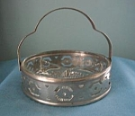 Clear Depression Era Divided Glass Dish In Basket
