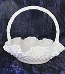 Fenton Milk Glass Hobnail Brides Basket W/ruffled Edge