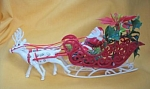 Flocked Plastic Santa Sled And Reindeer