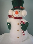 Cardboard And Cotton Snowman Figure W/green Trim