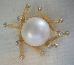 Large Faux Pearl And Rhinestone Pin