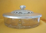 3 Part Candy Dish W/ Aluminum Cover