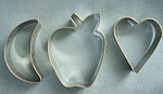 Aluminum Cresent Moon/apple/and Heart Cookie Cutters