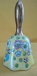 Yellow Floral China Dinner Bell W/gold Handle