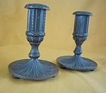 Norsk Tinn Pewter Candlesticks Norway