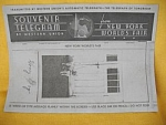1939/40 Ny World's Fair Souvenir Telegram Western Union