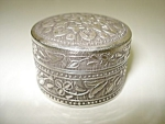 Lovely - Silver Tone - Round - Pill Box