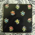 Vintage Powder Compact Black Fl Oral Enamel