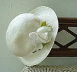 Lovely Childs Straw Like Hat - White Rose