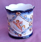 Vintage Cupid Angel Cobalt Blue Cup Mug