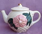 Vintage Pink Flower Round Swirl Teapot