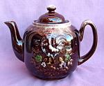 Chicken Rooster Brown Drip Teapot Tea Pot