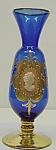 Birks Art Glass Cobalt Blue & Gold Vase