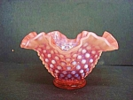 Pink Opalescent Hobnail Ruffled Bowl