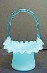 Victorian Style Aqua Blue Art Glass Basket