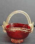 Ruby Art Glass/gold Inclusions Basket