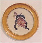 Antique Petit Point Needlework Round Picture