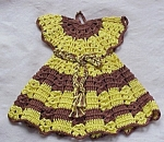 Vntg. Figural Crochet Pot Holder - Doll Dress