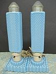 20's Art Deco Pr.boudoir Bullet Blue Lamps