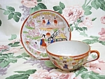 Antique Hand Painted Cup & Saucer - Japan