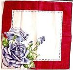 1950's - 60's Printed Hankie - Blue Roses