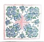 Pretty 50's - 60's Printed Hanki - Blue Roses