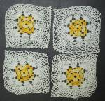 Fine Crochet Lace 4 Tiny Squares