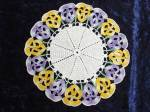 Colorful Figural Border Lace Doily