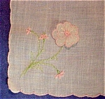 Victorianaembroidered Hankie Figural Rose