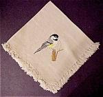 Pretty Embroidered & Fringed Linen Napkin