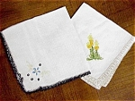 Two Vintage Embroidered Napkins - Tatted Edge