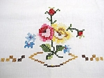 Snow White Embroidered Floral Pillow Case