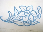 Pair Pillow Cases Blue Floral Embroidery