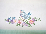 Embroidered Pillow Case - Blue Bird - Flowers