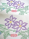 Embroidered Pair Pillow Cases Purple Blossoms