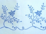 Pretty Blue Floral Embroidery Pillowcase