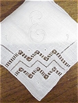 Drawnwork & Embroidery Hankie - Monogram E