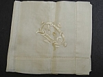 Antique White Silk Hankie - Monogram - D