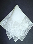 Lovely Antique Wedding Hankie - Wide Lace